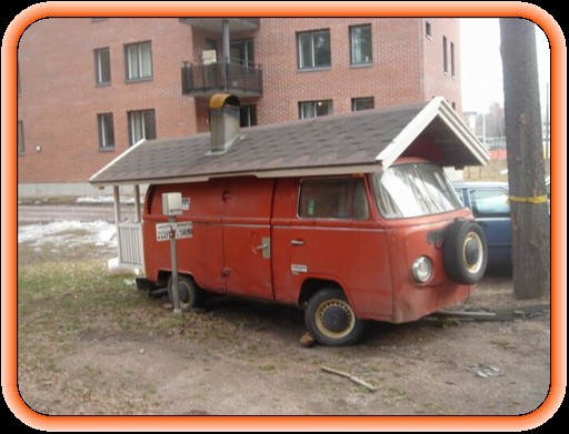 vw van with roof and porch